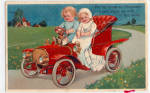 Click here to enlarge image and see more about item p28345: Adorable Children in Antique Automobile 1907
