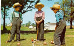 Amish Boys Playing Croquet Postcard p28683