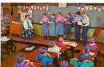 Amish Boys and Girls at School Postcard p28699