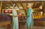 Amish Girls Making Candles Postcard p28808