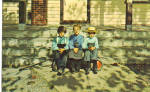 Amish Children in Front of  Schoolhouse Steps p28811