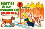 Click here to enlarge image and see more about item p28972: Dogs looking at a P sign