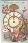 Click here to enlarge image and see more about item p29147: Father Time and a Clock Happy New Year