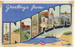 Indiana Big Letter Postcard