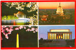 Four View Postcard of Nations Capital at Night