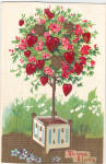 Click here to enlarge image and see more about item p29625: Flowering Trees Valentines Postcard p29625
