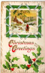 Snow Scene, Christmas Greetings Vinatge Postcard