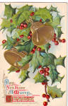 Click here to enlarge image and see more about item p30439: Bells Holly Christmas Wishes Vinatge Postcard p30439
