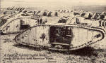 Click here to enlarge image and see more about item p30650: WWI Tanks ready for Action with  American Troops