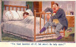 Click here to enlarge image and see more about item p30665: Drunk in Bedroom Comic Postcard p30665