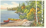 Lake Scene Linen Card Postcard p3083