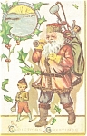 Click here to enlarge image and see more about item p3090: Santa in Pink Christmas Postcard