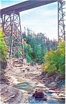NY Central RR Bridge Watkins Glen NY Postcard p3181
