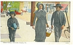Amish Family Lancaster PA Postcard