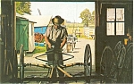 Click here to enlarge image and see more about item p3212: Amish Carriage Maker Postcard