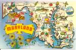 Click here to enlarge image and see more about item p32325: Maryland State Map Postcard