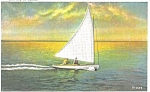 Yachting at Sunset Postcard p3287