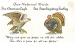 Click here to enlarge image and see more about item p3486: Thanksgiving Turkey and American Eagle Pcard