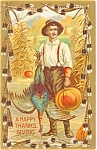 Click here to enlarge image and see more about item p3487: Thanksgiving Boy Turkey Pumpkin Postcard