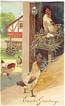 Easter Postcard with Chickens in Barnyard