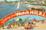 Watch Hill RI  Beach and Harbor postcard p35660