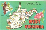 Map of West Virginia  Postcard p3643