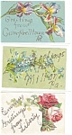Greetings  Vintage Postcard Lot 5 Glitter