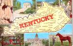 Click here to enlarge image and see more about item p38553: State Map of Kentucky Postcard p38553