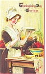 Click here to enlarge image and see more about item p4009: Thanksgiving Day Pie Postcard