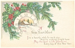 Click here to enlarge image and see more about item p4011: Snow Scene and Clock New Years  Postcard