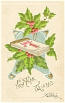 Click here to enlarge image and see more about item p4013: Holly and Calender New Years  Postcard