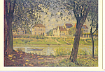 Click here to enlarge image and see more about item cs4014: Village on the Banks of the Seine Alfred Sisley Postcard cs4014