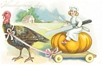 Click here to enlarge image and see more about item p4023: Tuck's Turkey and Pumpkin Thanksgiving Pcard