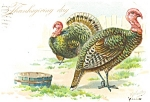 Click here to enlarge image and see more about item p4024: Tuck's Hen and Tom Turkey  Thanksgiving Pcard