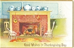 Click here to enlarge image and see more about item p4026: Clapsaddle Thanksgiving Fireplace Postcard p4026