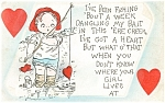 Valentines Fishing  Postcard