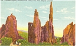 Click here to enlarge image and see more about item p4351: Cathedral Spires CO Postcard Linen p4351