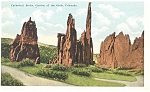 Click here to enlarge image and see more about item p4369: Cathedral Rocks Garden of the Gods CO Postcard p4369