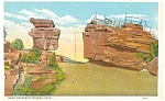 Click here to enlarge image and see more about item p4377: Steamboat Rock Garden of The Gods CO Postcard p4377
