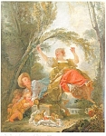 Click here to enlarge image and see more about item p4617: Jean Honore Fragonard Artwork Postcard p4617