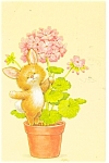 Click here to enlarge image and see more about item p4755: Cute Animal in Flower Pot  Postcard
