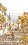 Click here to enlarge image and see more about item p4775: Clovelly High Street UK From a Watercolor Postcard p4775