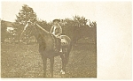Young Boy on Horseback Postcard Real Photo
