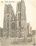 Click here to enlarge image and see more about item p4892: Brussels St. Gudule Church  Exterior Postcard