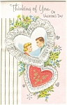 Click here to enlarge image and see more about item p4897: Thinking of You on Valentines Greeting Card
