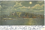 New York City Riverfront Night View Postcard p5317