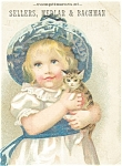 Click here to enlarge image and see more about item p5600: Victorian Trade Card Young Girl with Kitty