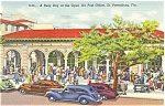 Click here to enlarge image and see more about item p5615: St Petersburg, FL Post Office, Linen, Old Car