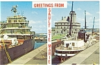 Freighters in The Soo Locks Postcard p5714