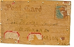 Click here to enlarge image and see more about item p5778: Leather Postcard Dated 1906